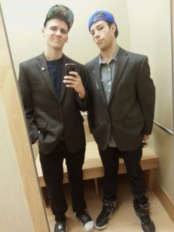 Rockin' the suit jackets... at Kohls, because we got bored.