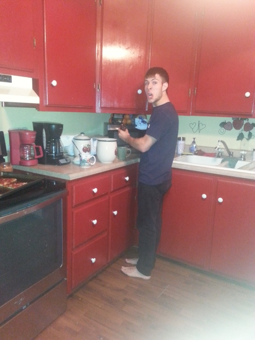 Tanner... making coffee.