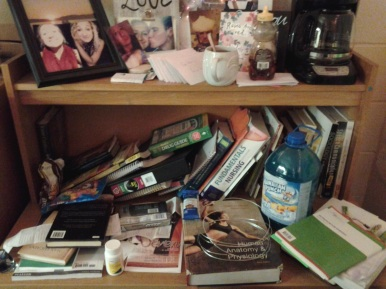 This was my college dorm desk... like every day.