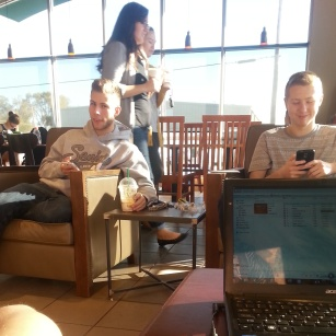 Starbucks runs...and electronics time.